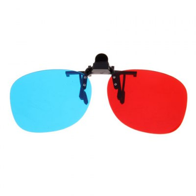 Stylish Re-useable Red + Blue Lens 3D Glasses with Metal Clip for Short Sight