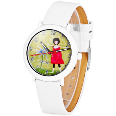 Popular Children Watch Analog with Round Dial Leather Watch Band