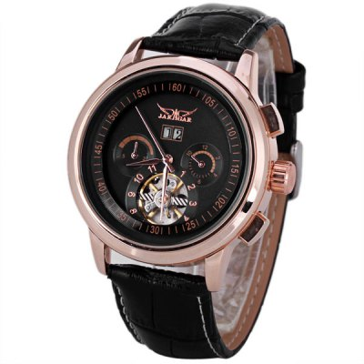 JARAGAR Men Mechanical Watch with Flywheel Sign Round Dial and Genuine Leather Watch Band