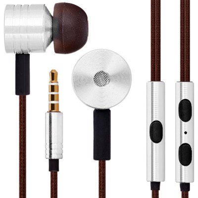 Bass Sound Piston In - ear Earphone Music Control Headphone 1.2M Canvas Cable with Mic 3.5MM Jack for iPhone Smartphone MP3 MP4