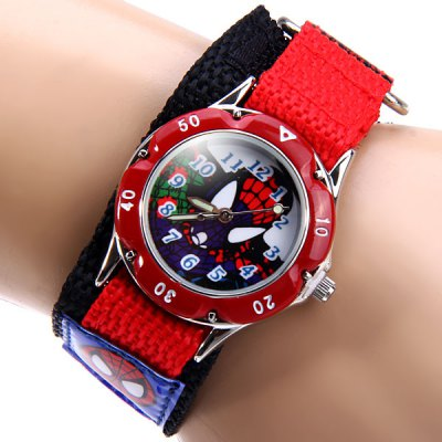Kid's Spider - man Quartz Watch Round Dial Velcro Nylon Wristband
