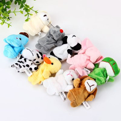 Set of 10PCS Lovely Funny Finger Puppets Animals Figures Group Educational Toy for Baby