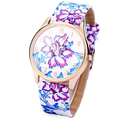 Delicate Leather Band Women Quartz Watch with Chinese Flower Round Dial