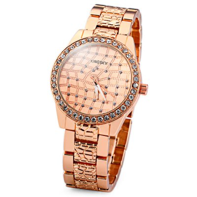 Popular Men Wrist Watch Analog with Diamonds Round Dial Steel Watch Band