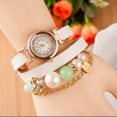 Women Wrist Watch with Diamonds Beads Round Dial and Leather Watch Band