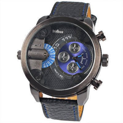 Military Watches with Japan Double - movt Three Small Decorating Hands Round Dial and Leather Band