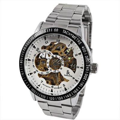 IK Coloring Band Mechanical Men Watch with Round Dial Steel Watchband