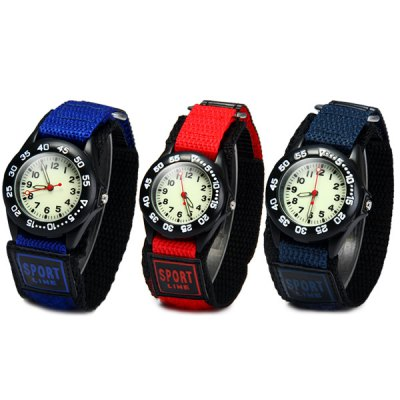Quartz Watch Round Dial Velcro Nylon Band for Children