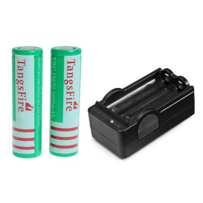 TangsFire 18650 3.7V 3600mAh Flat Li-ion Rechargeable Battery with Charger - 2-Pack, Green, without Protection Board