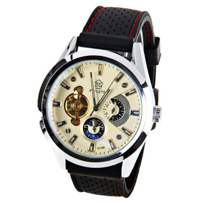 Fuyate Quartz Automatic Mechanical Watch with Trapezoids Indicate Silicon Watch Band for Men