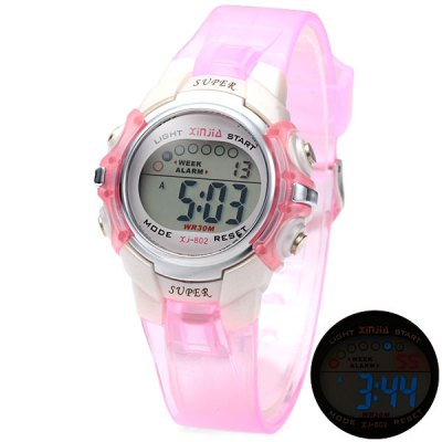 Xinjie 802 LED Sports Watch 30M Water Resistant Alarm Week for Children