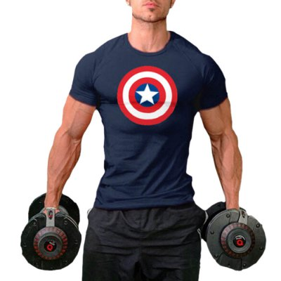 Men Round Neck Printed Short Sleeves Sports T-shirt