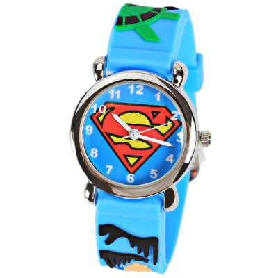 Beautiful Cartoon Rubber Strap Quartz Watch with Super Man Watchband for Children - Blue