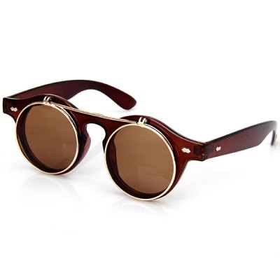 Fashion Punk Style Two Layer Flip Lens Sunglasses with Black Plastic Frame for Women