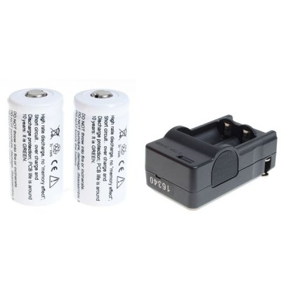 TangsFire 16340 3.7V 1000mAh Li-ion Rechargeable Battery with Charger - 2 Pack