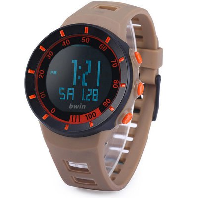 Bwin BW010 Sports LED Watch 30M Water Resistant Army Wristwatch Date Day Display Alarm