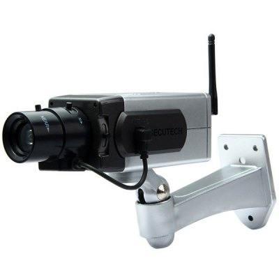 Realistic Appearance Wireless Dummy CCTV Security Camera with Motorized Pan Movement for Indoor Outdoor Use