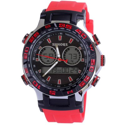 Shhors 3ATM Water Resistant Multifunctional Sports LED Watch Analog Digital Display