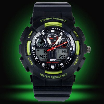 Skmei 0909 Double Movt Military LED Watch 3ATM Water Resistant Day for Sports