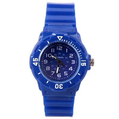 WoMaGe Quartz Children Watch with 12 Arabic Numbers Indicate and Plastic Watch Bandの画像 2