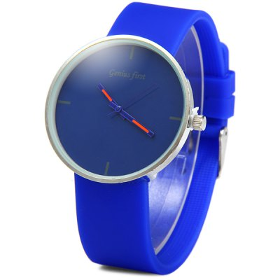 Genius Frist ZH3121 Unisex Quartz Simple Round Dial Rubber Strap Watch