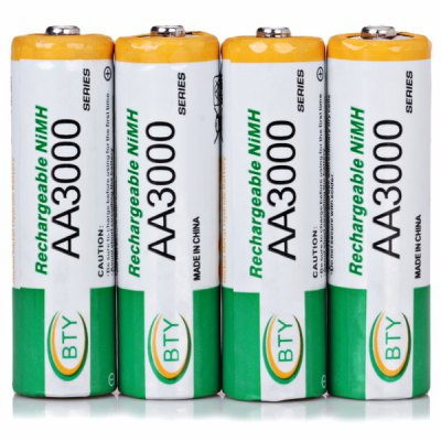 4PCS BTY AA 3000mAh 1.2V Ni - MH Rechargeable Battery without Protection Board