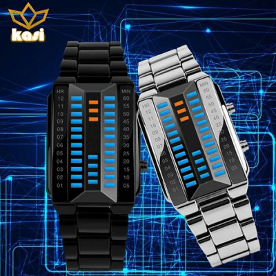 kasi 7003 Waterproof 3D LED Watch with Zinc Alloy Band Time Date Week Display