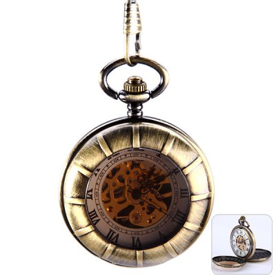 Mechanical Pocket Watch Roman Numerals Indicate with Double Covers