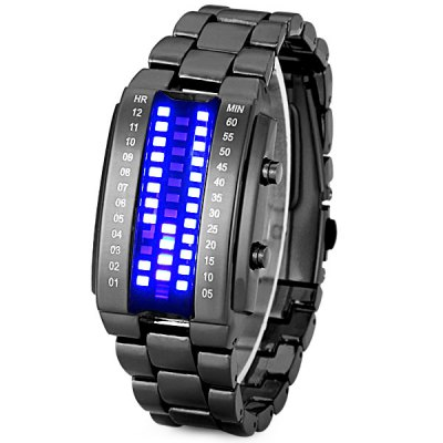 HZ Fashion LED Squre Stainless Steel Band Bracelet Wrist Watch