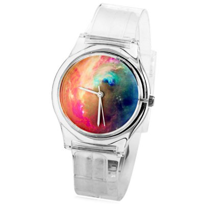 Fashion Women Watch with Oil Painting Analog Display Round Dial Rubber Watch Band