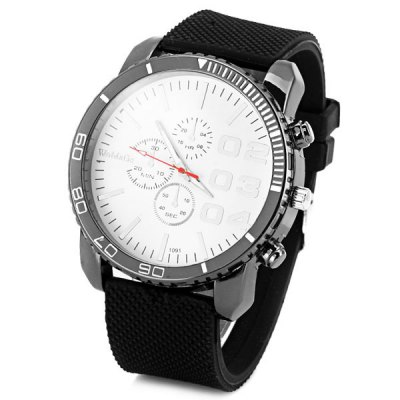 Cool Men Quartz Wrist Watch with Analog Indicate Round Dial and Rubber Watch Band