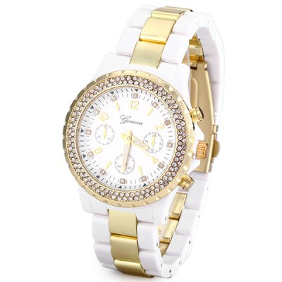 Stylish Women Watch Analog with Rhinestones Design Round Dial Steel Watch Band