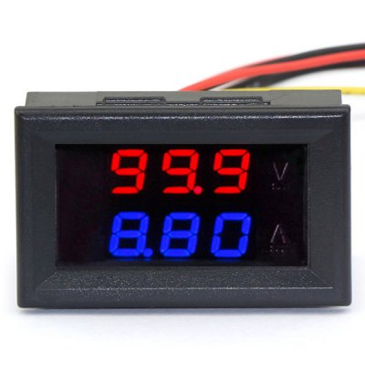 Jtron Practical Dual 0.28 inch 3 Digit Red Blue LED Display Voltage Current Meter ( 0  -  100V / 10A )