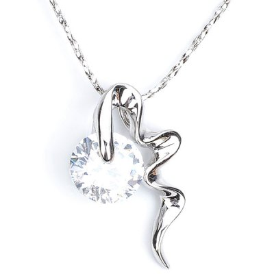 KCCHSTAR One - Carat Artificial Diamond Pendant Zinc Alloy Necklace for Female Ornament