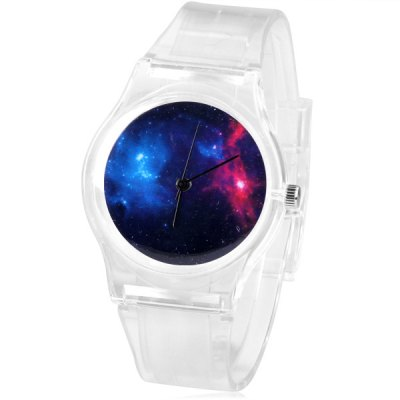 Watch with Planet Patterned Round Dial and Transparent Rubber Band for Children