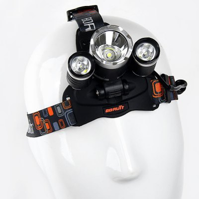 Headlamp 3 x Cree XM - L T6 3000LM White Light 3 - Mode LED Light with US Charger