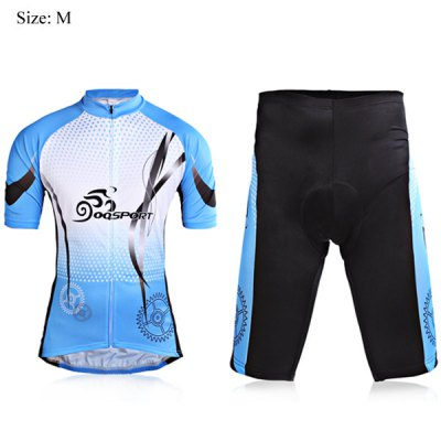 M Size Fashion Race Short Sleeve Biking Cycling Suit Jersey Set for Men - Blue and Black