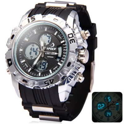 Hpolw 610 LED Watch Japan Movt Double Showes Alarm Week Date Chronograph 3ATM Water Resistant