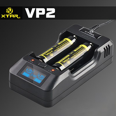 Xtar VP2 2 - Slot Intelligent LED Monitor Li - ion Battery Charger with Car Charger Used as Power Bank  -  US Plug