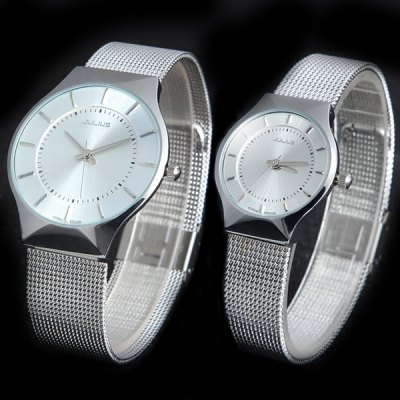 Julius 577 Quartz Watch Round Dial Steel Net Watchband for Lover
