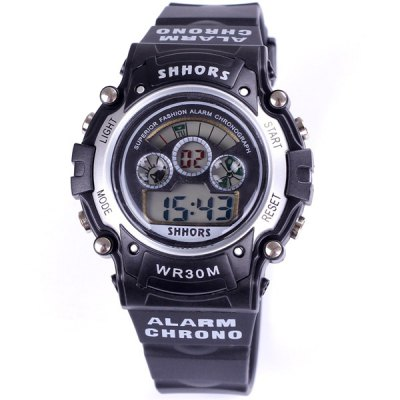 Shhors 1582 Multifunction Sports LED Watch 30M Water Resistant Army Wristwatch Alarm Day Display