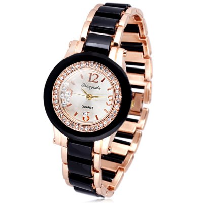 Elegant Women Watch Analog with Diamonds Round Dial Steel Watch Band