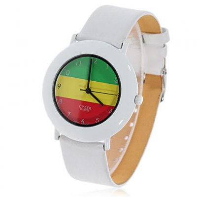 Stylish Astina Flag Patterned Cyber Design Japan Movt Leather Wrist Watch for Men WT-0687 (White)