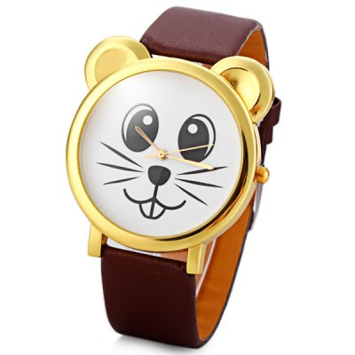 Delicate Leather Band Women Quartz Watch with Mouse Round Dial