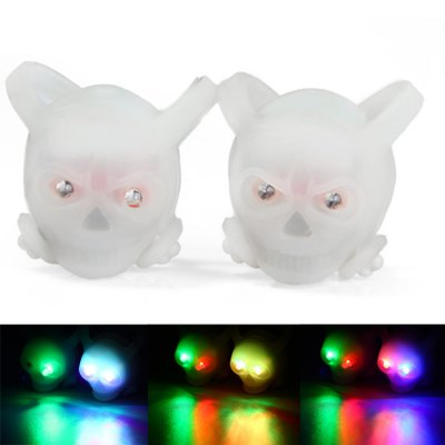 2PCS CoolChange Skull - Shape 2 LED 3 - Mode Colorful Bicycle Tail Light Safety Warning Light