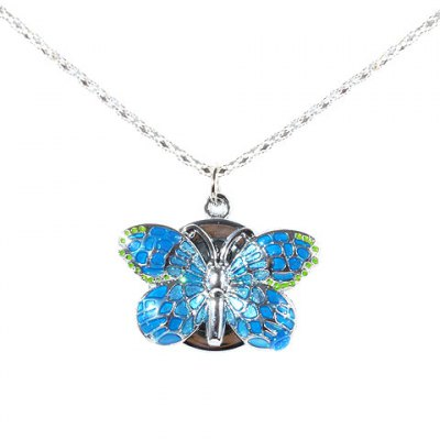 Fashion Butterfly Shaped Pocket Quartz Watch with Chain Belt (Blue)