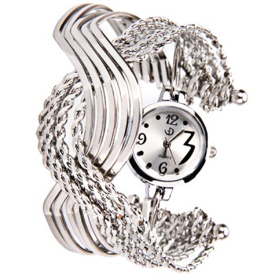 Fashionable Stainless Steel Crossed S Shape Quartz 4 Arabic Numbers and Dots Indicate Wrist Watch for Female - Silver