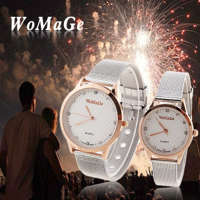 Cheap Watch with Diamonds Round Dial and Steel Band for Couple