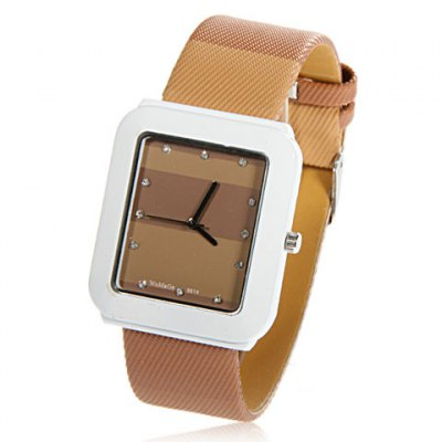 Popular WoMaGe Wrist Watch with Square Case and Rubber Band 9614 (Brown)