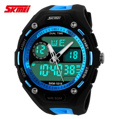 Skmei 1015 Sports LED Watch Double Movt 50M Water Resistant Alarm Date Day Display Army Wristwatch